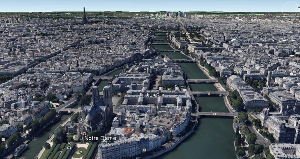 Paris in Google Earth