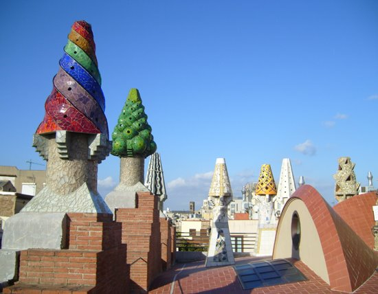 Barcelona Palau Guell Colorful Chimmneys