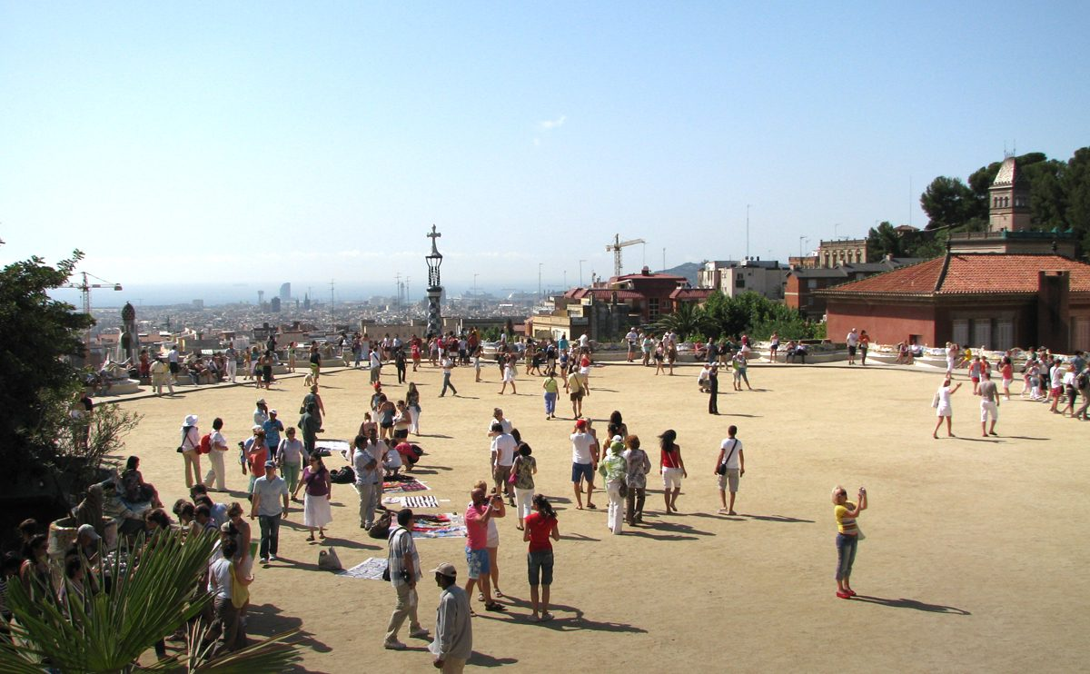Parc Guell with Barcelona in the background